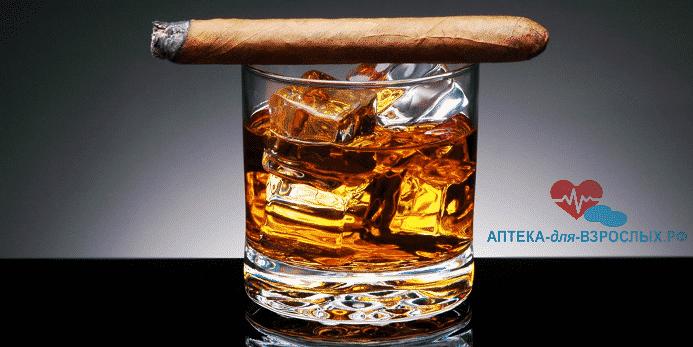 Стакан с алкоголем и сигарой как влияют на потенцию
