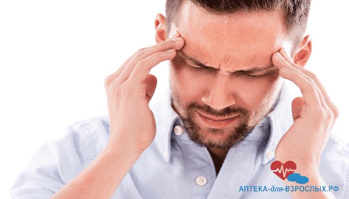 Головные боли у мужчины из-за передозировки БАДа