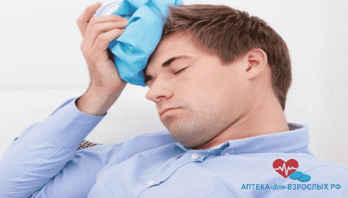 Головная боль у мужчина из-за передозировки добавкой